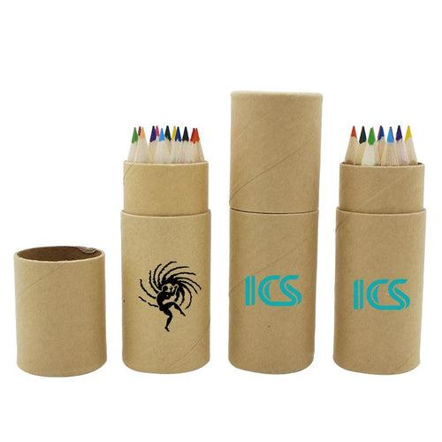 Small Colour Pencil Set In Eco-Friendly Cardboard Tube (12) CG Pencils One Dollar Only