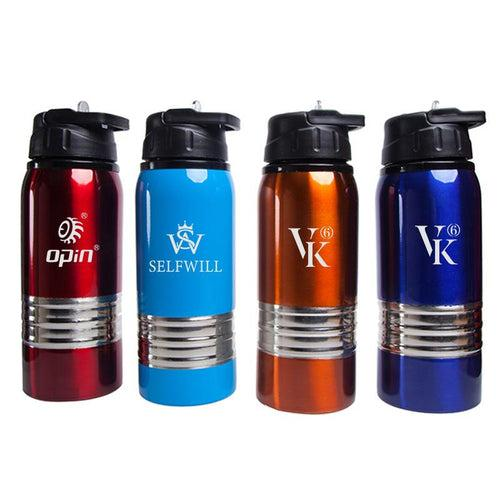 Stainless Steel Drinking Bottle With Thick Silver Strip CG Drinkware One Dollar Only