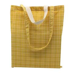 Checkered Cotton Tote Bag With Carrying Handles And Carrying Straps