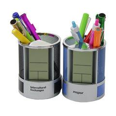 Steel Mesh Pen Holder With Electronic Calendar CG Pen Holders One Dollar Only