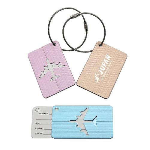 Brushed Metal Luggage Tag With Aeroplane Design CG Luggage Tags One Dollar Only