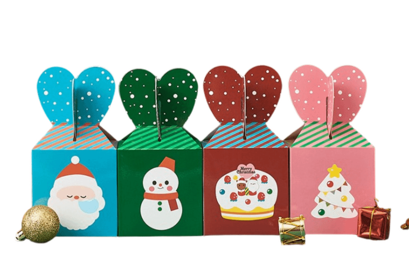 Christmas Packaging Box with Heart Handle Seasonal One Dollar Only
