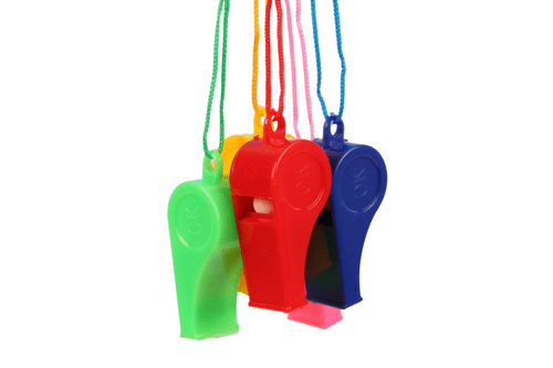 Whistle with Rope (pack of 20) Games and Toys One Dollar Only
