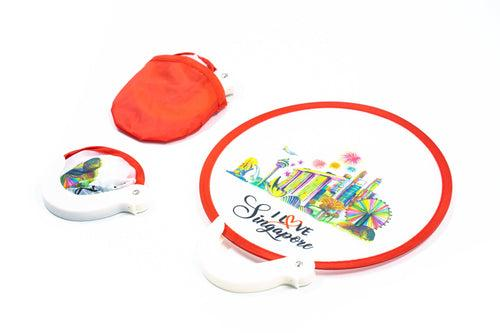 Singapore Design Foldable Fan With Pouch SEASONAL One Dollar Only