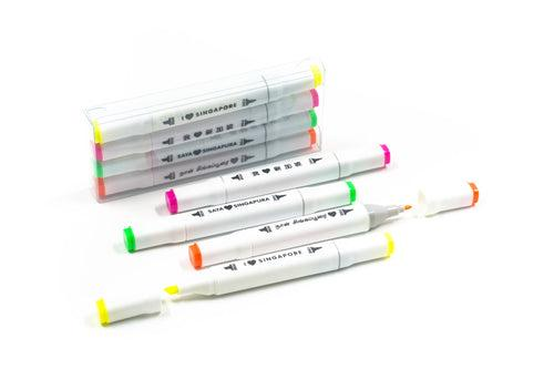 Set Of 4 Highlighters With I Love Sg Messages Everyday Stationery One Dollar Only