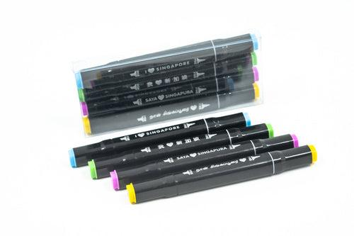Set Of 4 Markers With I Love Sg Messages MARKERS One Dollar Only