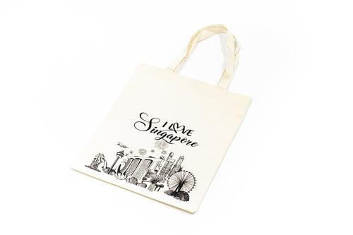 Fabric Tote Bag With Singapore Design BAGS One Dollar Only