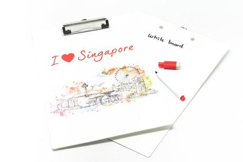 Clipboard With Whiteboard with a Singapore Skyline Watercolour Design Files and Folders One Dollar Only
