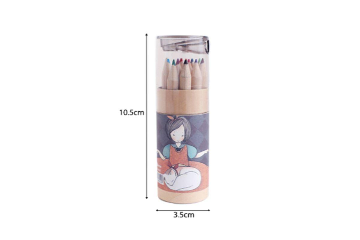 Sketch Girl Theme Tube Color Pencil with Sharpener
