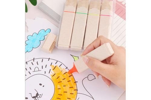 Set of 4 Wheat Straw Highlighters Everyday Stationery One Dollar Only