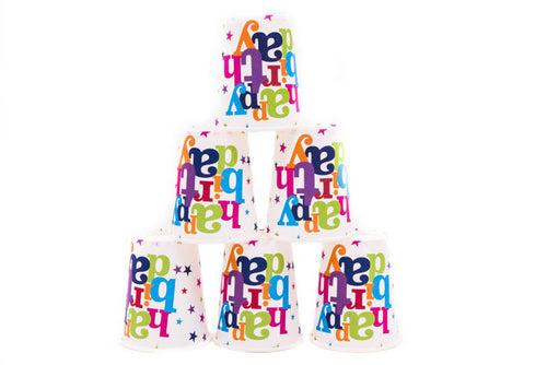 Birthday Party Paper Cups (6pc) Party Supplies One Dollar Only