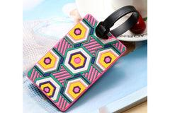 Geometric Abstract Design Bold Colors on Black Luggage Tag