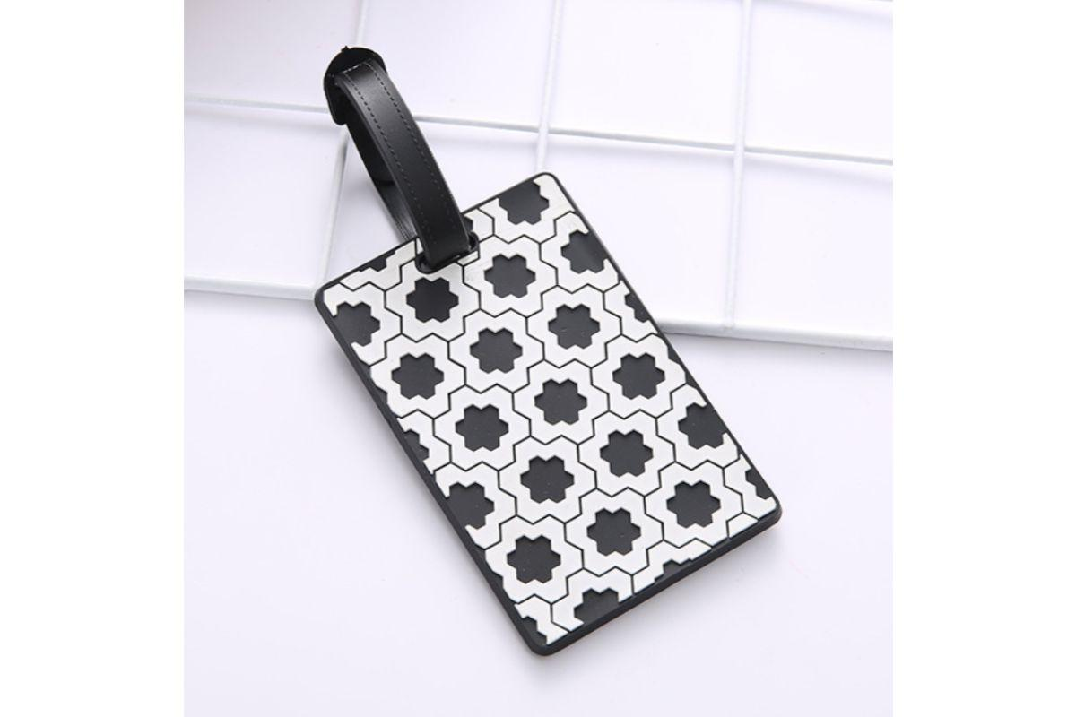 Geometric Abstract Design Monochrome Black and White Luggage Tag