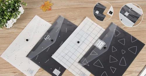 Geometric Monochrome Design PP Button File (Pack of 12pcs) Files and Folders One Dollar Only