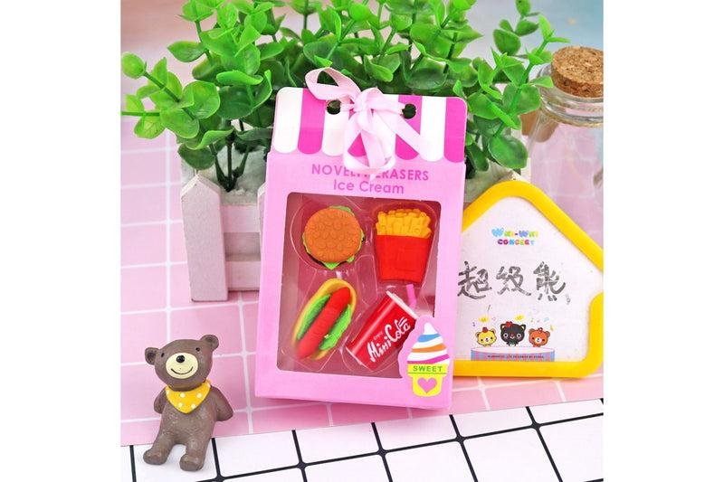 Food and Dessert Design 4 Piece Eraser Set Erasers One Dollar Only