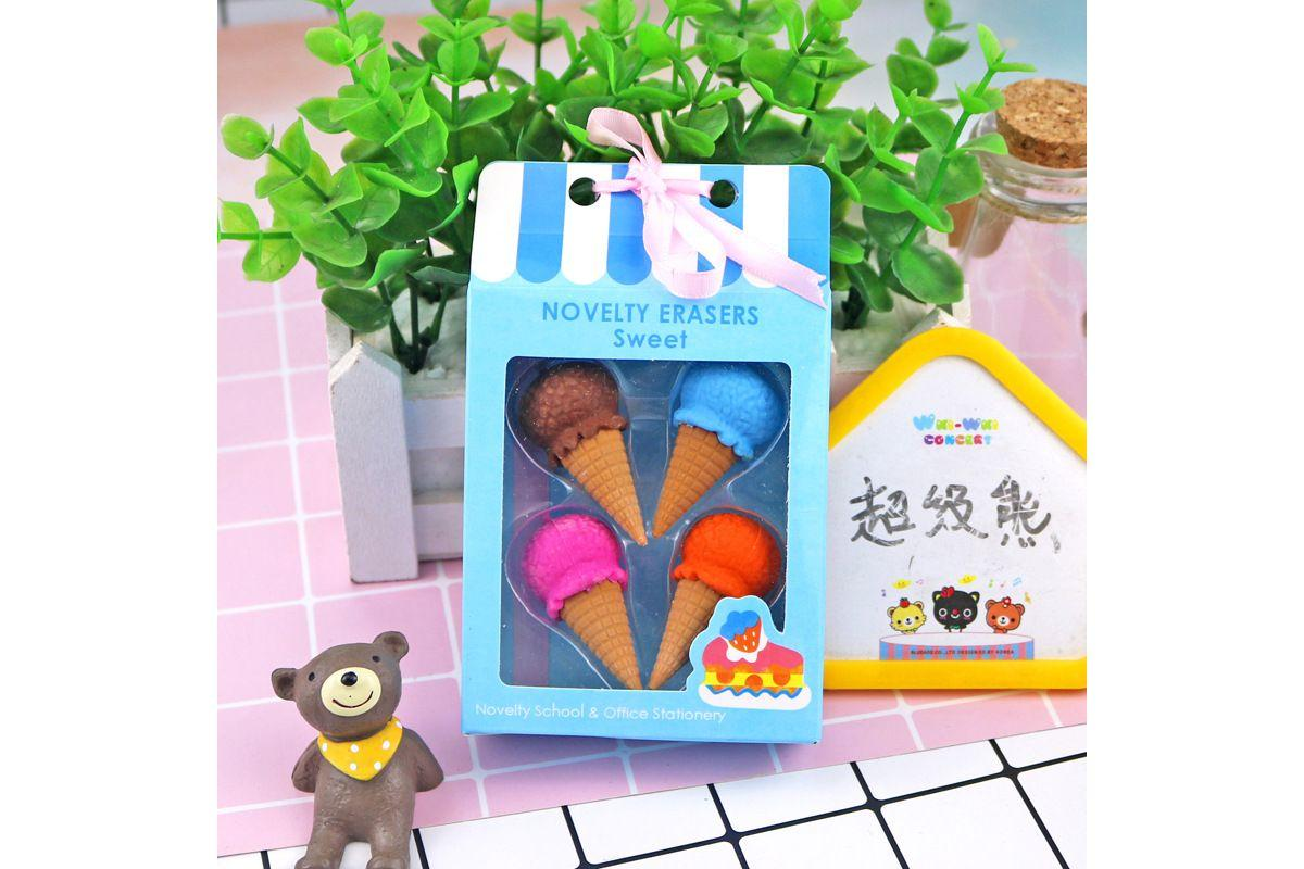 Food and Dessert Design 4 Piece Eraser Set