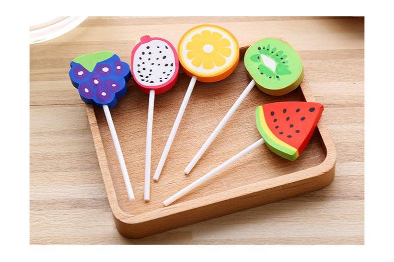 Fruit Lollipop Design Erasers Erasers One Dollar Only