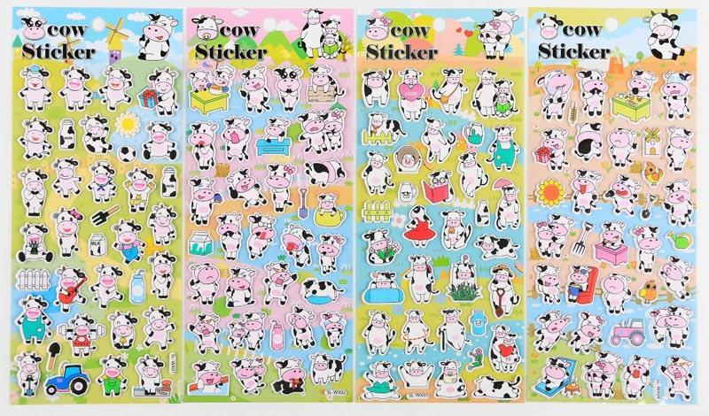 Puff Up Cow Theme Stickers-One Dollar Only