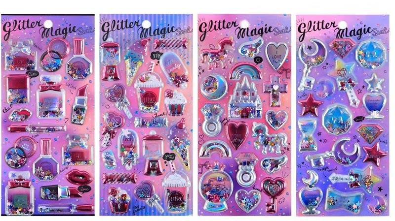Premium Glitter Puff up Stickers,  -  - One Dollar Only
