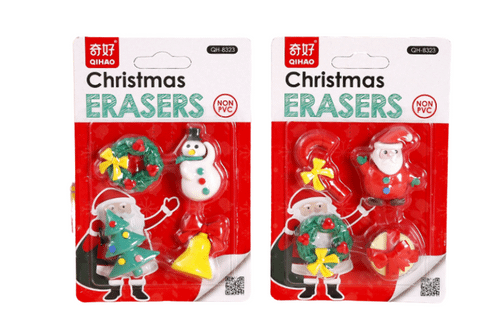 4 piece Christmas Theme Erasers Seasonal One Dollar Only