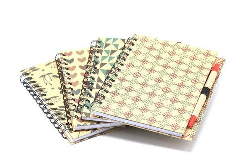 Spiral Bound Graphic Design Motif Notebook with Pen NOTEBOOKS One Dollar Only