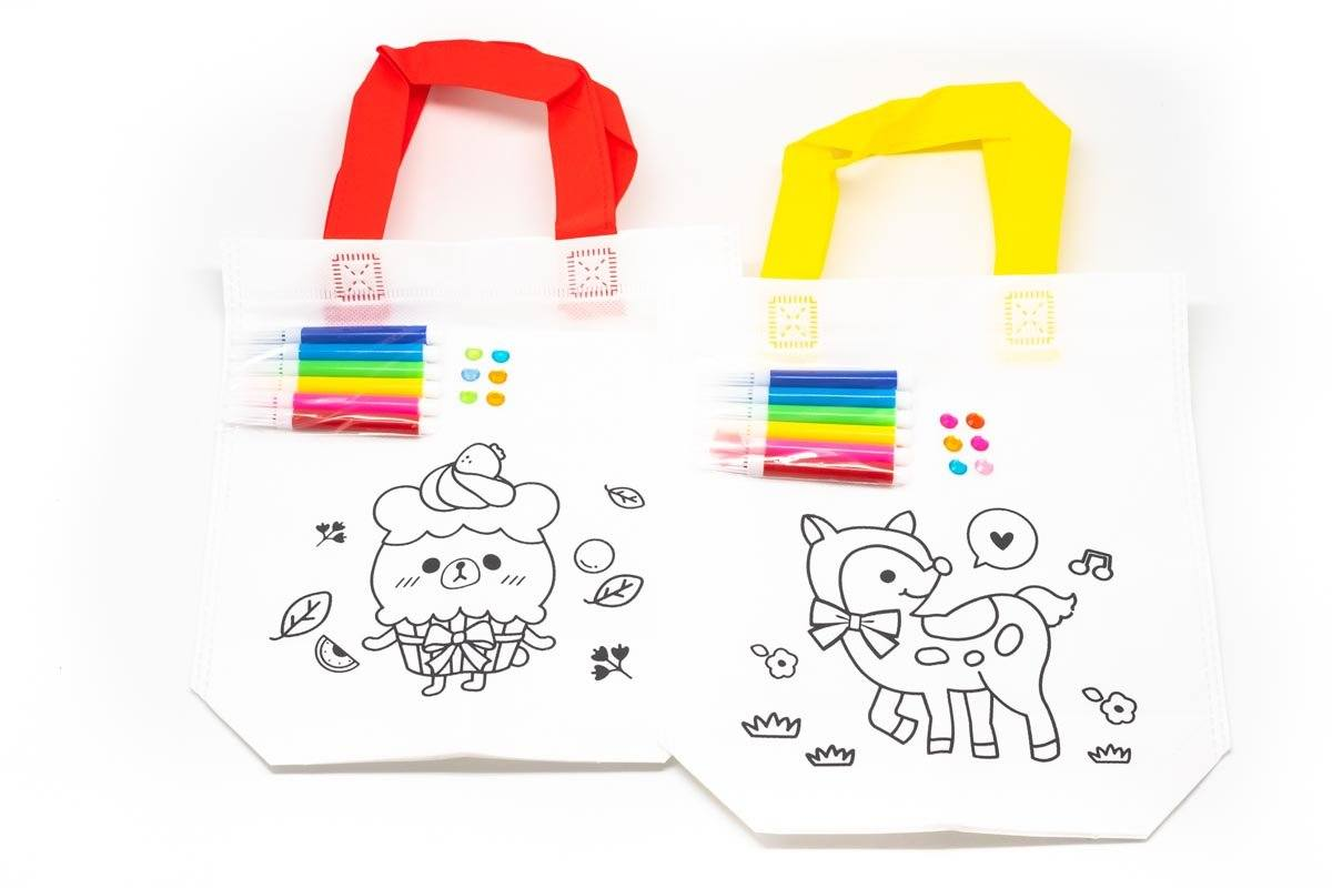 DIY Colouring Non Woven Bag Set - Cartoon Design 250619 OneDollarOnly