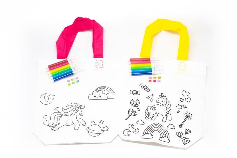 DIY Colouring Non Woven Bag Set - Unicorn Design Bags One Dollar Only