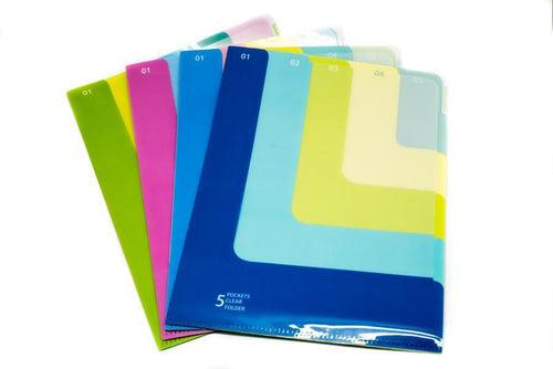 Multi Colour 5 Compartment L Folder,  -  - One Dollar Only