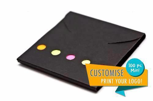 Post It Tabs + Pad, Paper (Black Cover)-Everyday Stationery,Corporate Gift Ideas,Printable/Customizable,Post-Its-One Dollar Only
