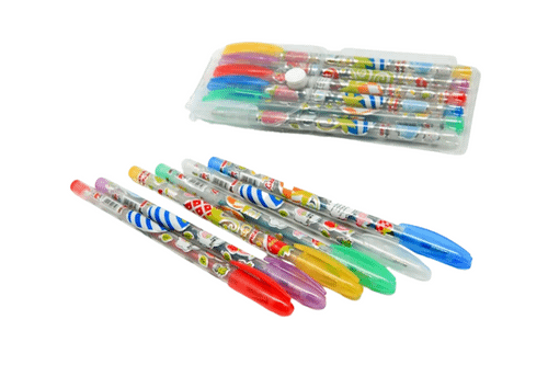 6-Colour Glitter Pen Set Colouring Materials One Dollar Only