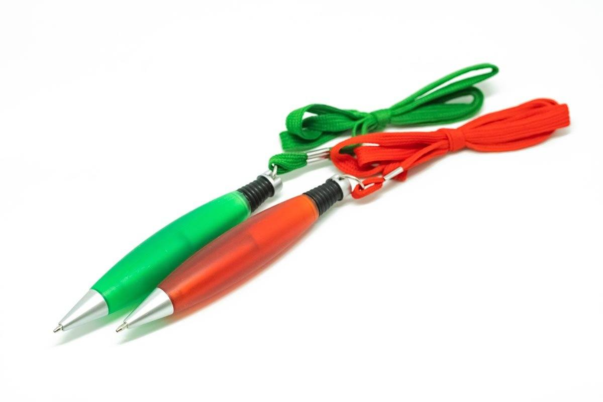 Translucent Plastic Click Action Pen with Lanyard,  - 250619 - One Dollar Only